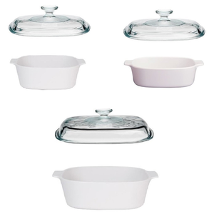 Corningware 6 Pc Casserole Set - Just White - bakeware bake house kitchenware bakers supplies baking