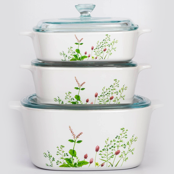 Corningware 6 Pc Casserole Set - Provence Garden - bakeware bake house kitchenware bakers supplies baking
