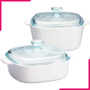 Corningware 4 Pc Casserole Set - Just White - bakeware bake house kitchenware bakers supplies baking