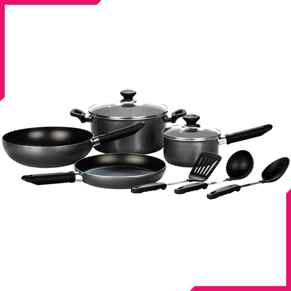 Kitchen King Imperial Cook Set 9Pcs Black - bakeware bake house kitchenware bakers supplies baking