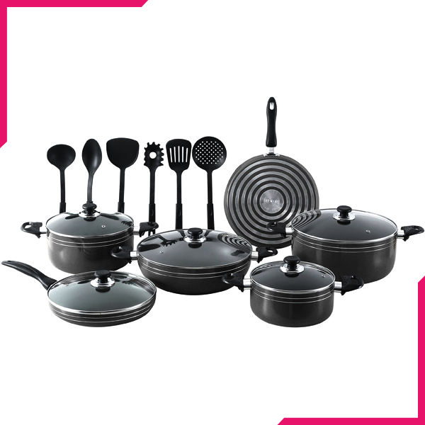 Kitchen King Karfto Plus Cook Set 17Pcs Black - bakeware bake house kitchenware bakers supplies baking