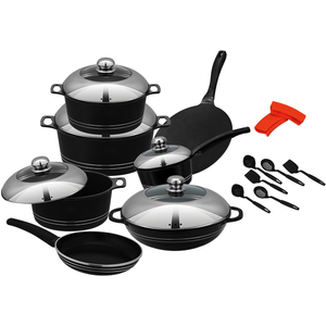 Kitchen King Cambria Cook Set 18Pcs Black - bakeware bake house kitchenware bakers supplies baking