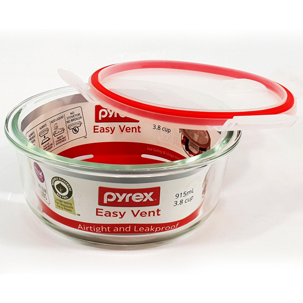 Pyrex Easy Vent Round Glass Food Storage Container - bakeware bake house kitchenware bakers supplies baking