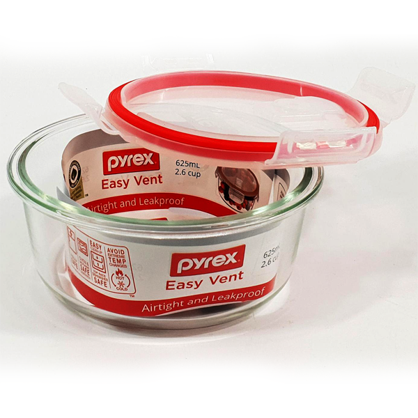 Pyrex Easy Vent Round Glass Food Storage Container