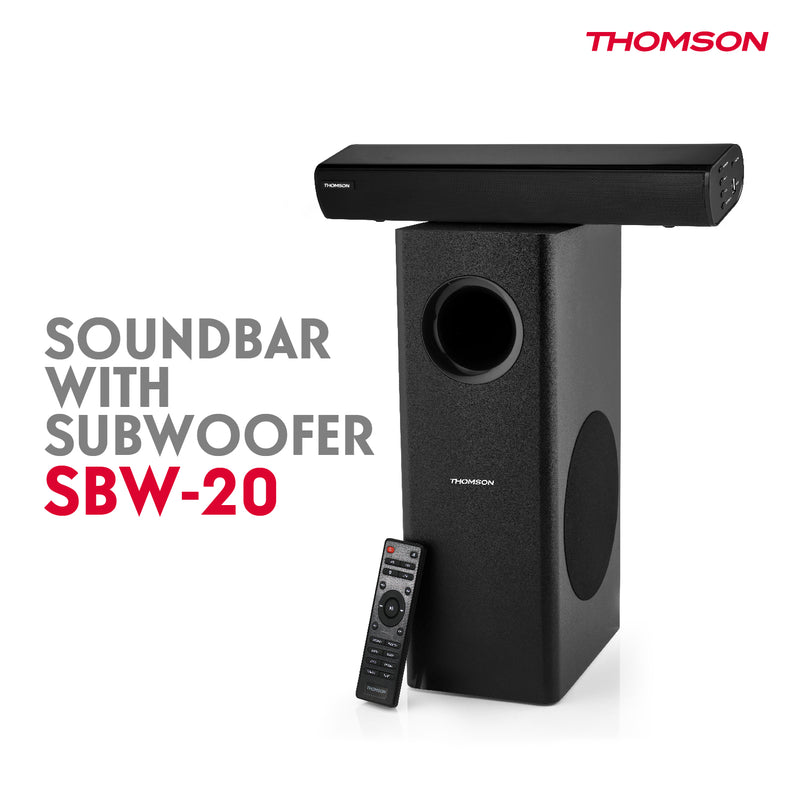 Thomson SBW20 100 Watts Wired Soundbar with Subwoofer and Bluetooth
