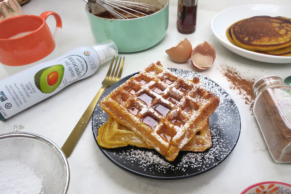 Pumpkin Waffles with Pumpkin Spice Syrup