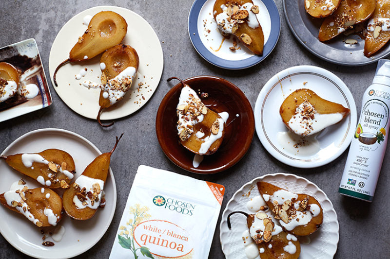 Cinnamon Pears with Popped Quinoa Almond Crumble
