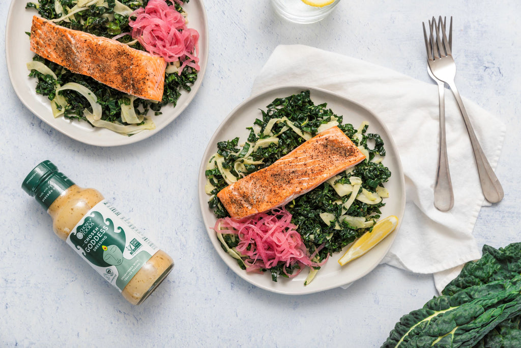Chosen Foods Roasted Salmon Bowls with Chosen Goddess Dressing