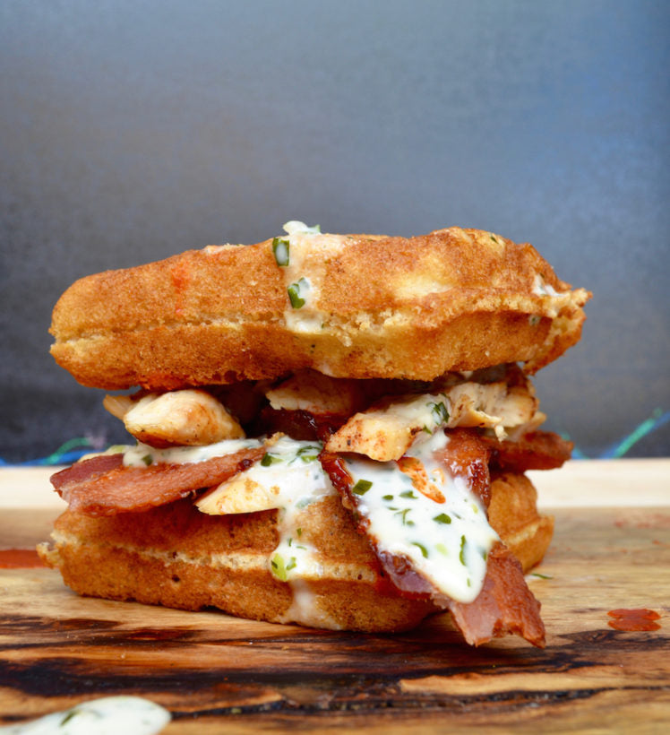 Chicken & Bacon Waffle Sandwich with Creamy Ranch2