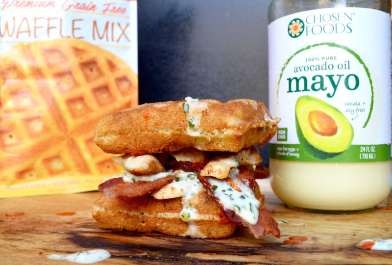 Chicken & Bacon Waffle Sandwich with Creamy Ranch