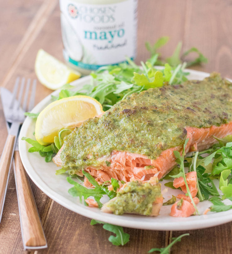 Salmon with Basil & Garlic Coconut Oil Mayo