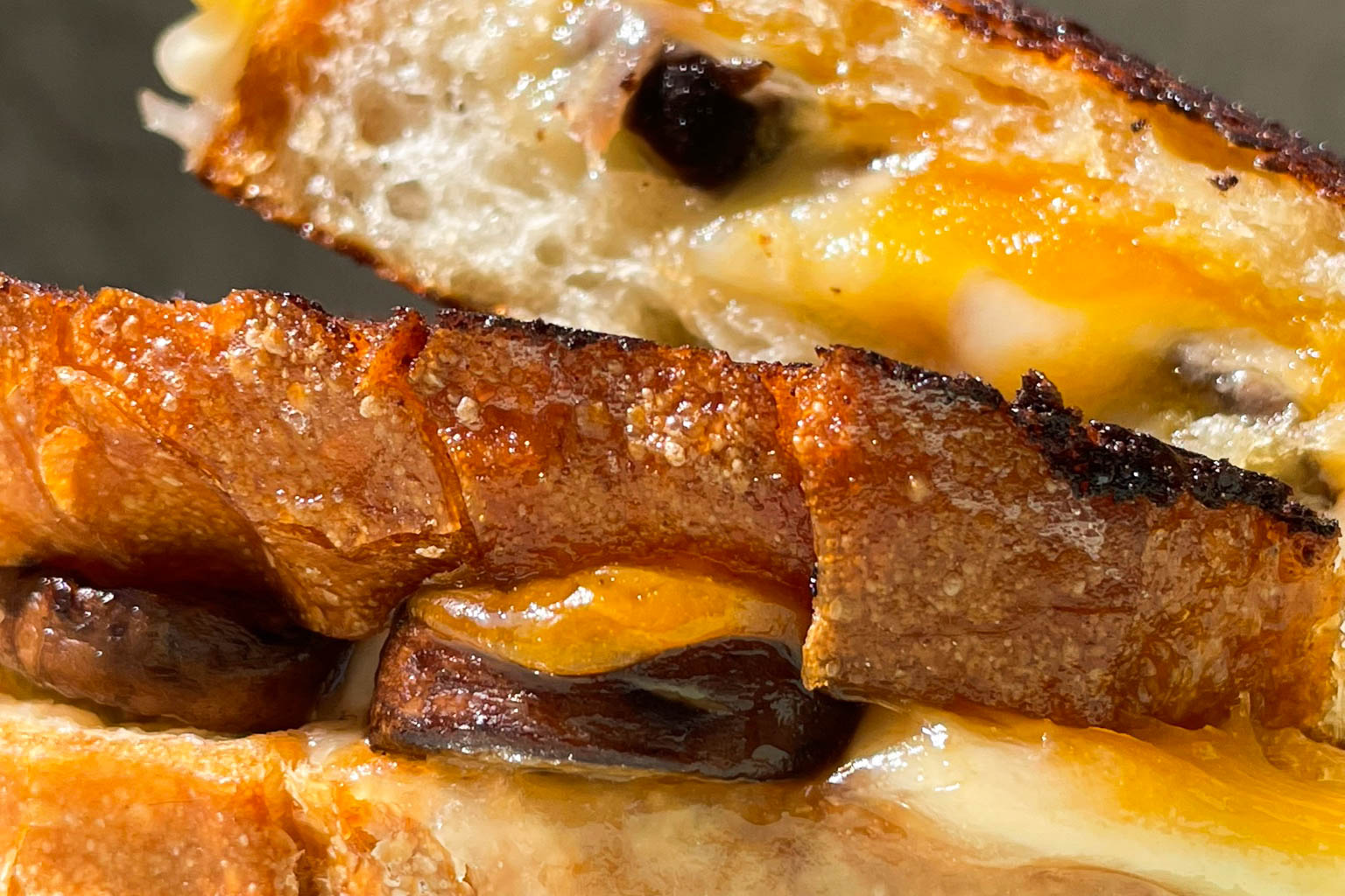Garlic Grilled Cheese with Caramelized Onion and Mushrooms