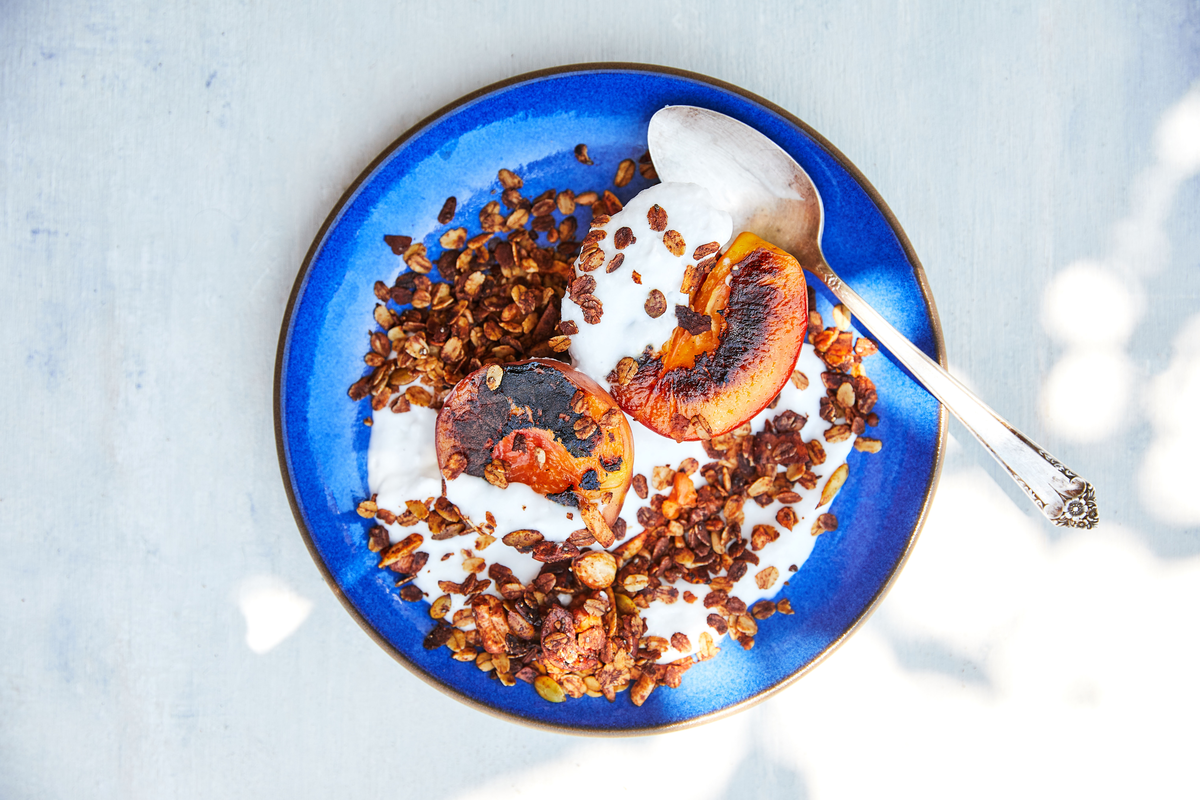 Homemade Granola with Grilled Peaches