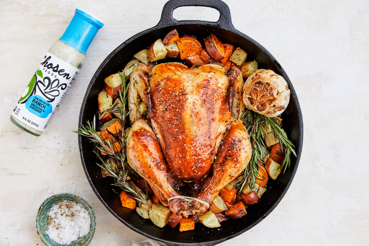 Whole Roasted Ranch Chicken & Rosemary Sweet Potatoes