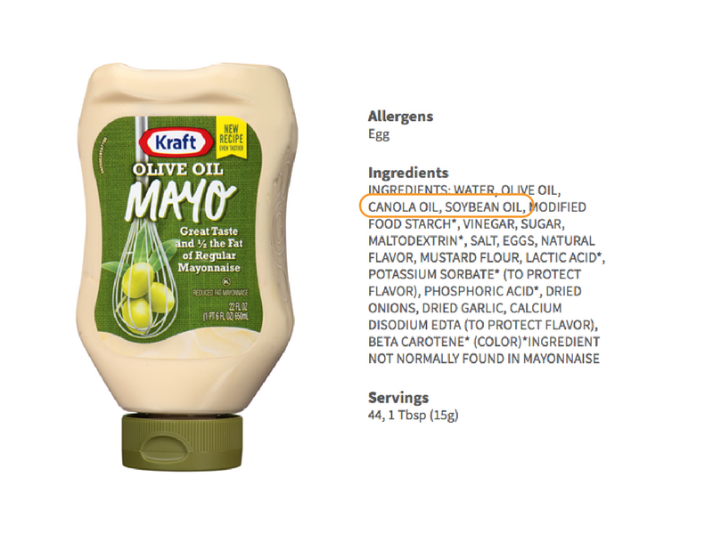 olive oil mayo ingredients list