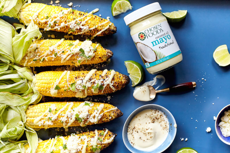 Grilled Street Corn with Coconut Oil Mayo