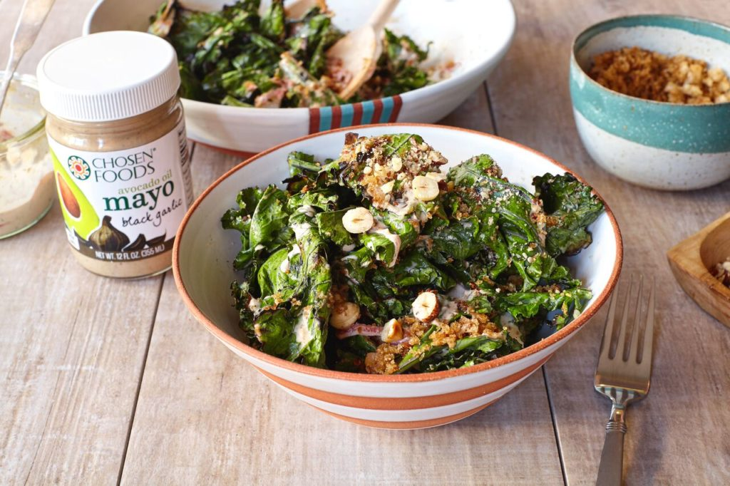 Grilled Kale with Black Garlic Dressing