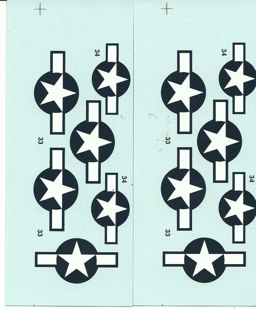 2 Loose WWII P-51 Mustang Stars and Bars Decals 1/48