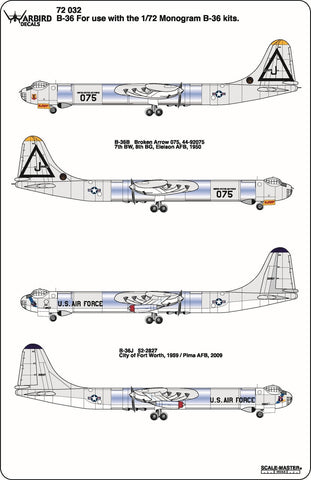 B-36 Peacemaker Decals 1/72 032, Broken Arrow Ship 075, B-36J Pima AFB