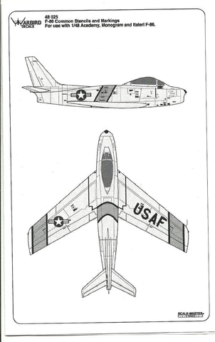F-86 E, F Sabre Common Data, Stencil, ID Band Decals 1/48 WBD 48025