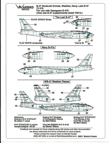 Hard to Find B-47 Stratojet Decals, Drones, Weather Navy 1/72 016