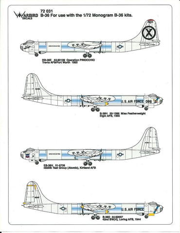 Nose Art B-36 Peacemaker Decals 1/72, Atomic Test Group, Loring AFB WBD 72 031