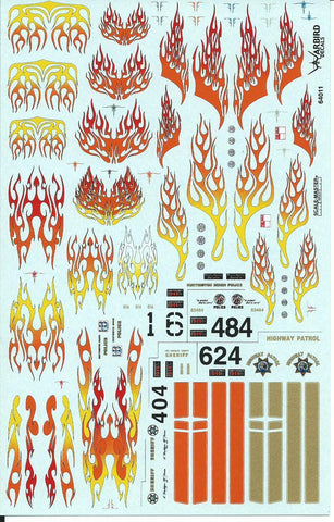 Hi Quality, Waterslide Flame Decals for 164 Diecast Cars 64011