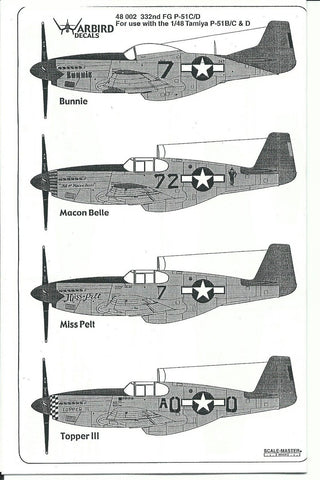 Tuskegee, 332nd FG P-51 B/C/D Mustang Decals 1/48 WBD 002 Part 2
