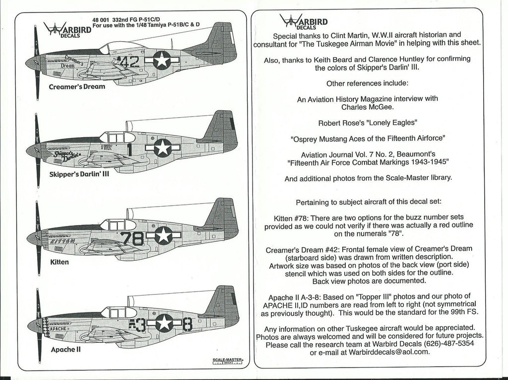 Tuskegee, 332nd FG P-51 B/C/D Mustang Decals 1/48 WBD 01 Part 1 Creamer's Dream