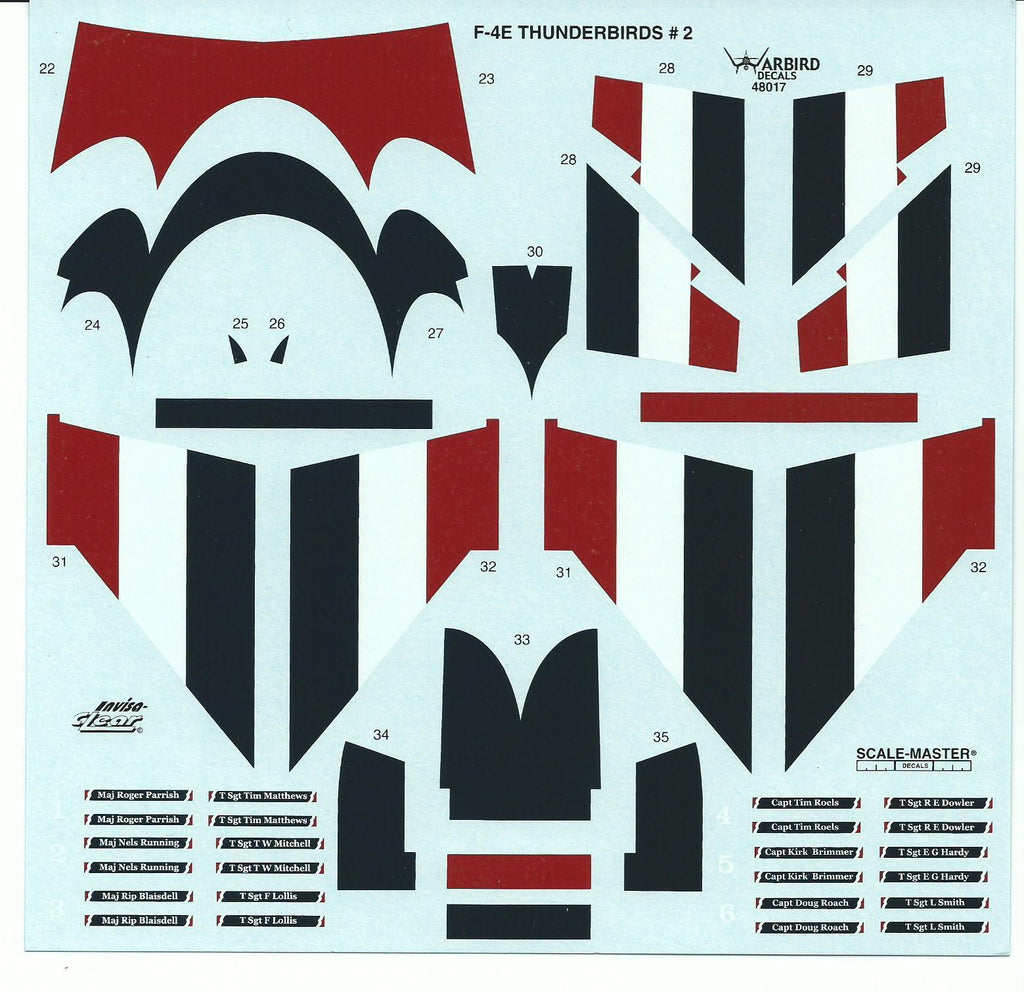 USAF Thunderbirds F-4E Phantom II 1/48 Decals WBD 48017