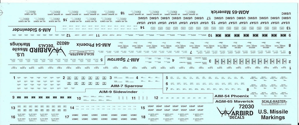 US Missile Markings Data, Stencil Decals 1/72 Plus Free 1/48 WBD 72 030