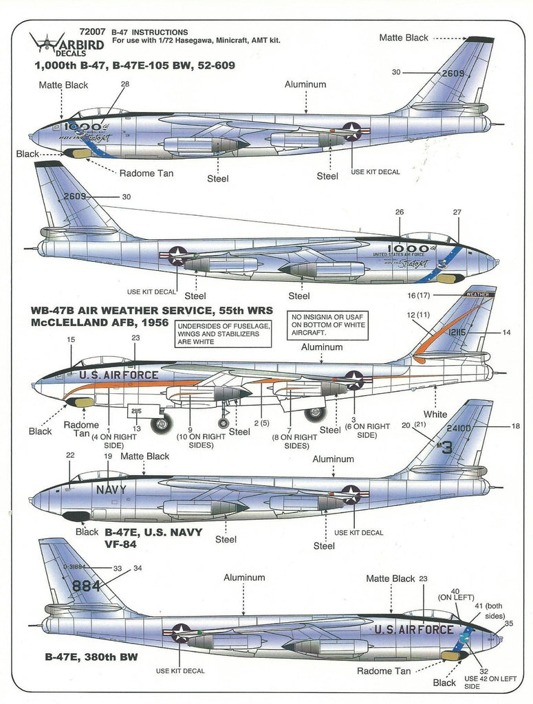 Warbird 5 Options, B-47B, B-47E , 1000th Stratojet Decals Part I in 1/72 007