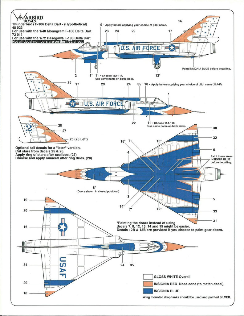 Warbird What If the Thunderbirds Flew the F-106 Delta Dart ? Decals 1/48 023