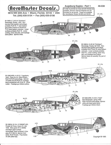 AeroMaster Augsburg Eagles Part I, Bf-109G-6 Decals 1/48 038