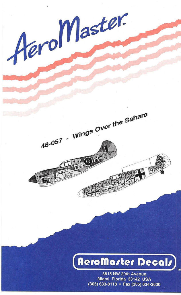 AeroMaster Wings Over the Sahara, P-40, Hurricane, Bf-109F , Bf-109G-2/Trop Decals 1/48 057