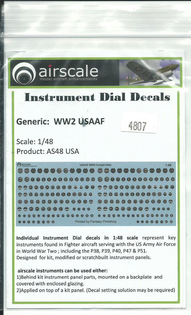 Generic WWII USAAF Instrument Dial Decals 1/48