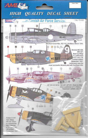 AML WWII Finnish Air Force, Multi-Aircraft Option Markings, Decals 1/72 022