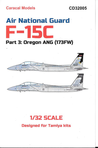 Caracal Air National Guard F-15C Eagle, Oregon ANG (173FW) Decals 1/32 005