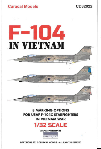 Caracal Models, F-104C Starfighter, In Vietnam, w/ Nose-art, Decals 1/32 022 DO