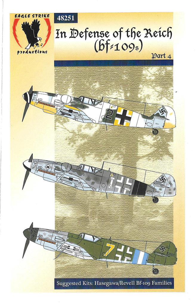 Eagle Strike Bf-109 G6/10, Defense of the Reich IV Decals 1/48 251, 3 Options