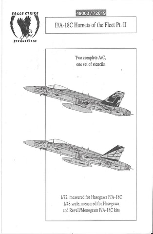 Eagle Strike F/A-18C Hornet Decals 1/72 019 VFA-192, VFA-151 , CAG Aircraft
