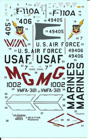 F-4B Phantom, USAF F-110A Spectre, Colorful USMC VMFA-321 Decals 1/48 WBD48 033