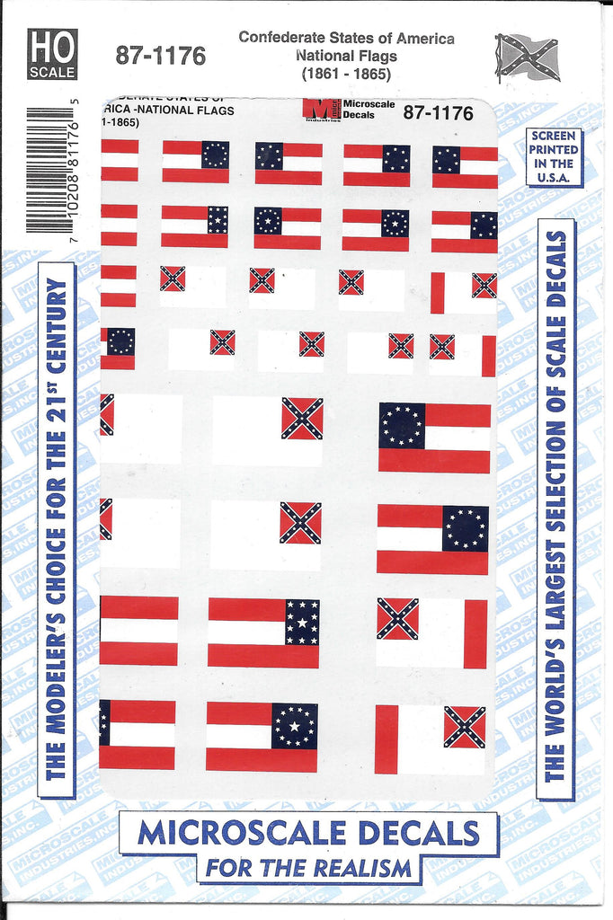 Confederate States of America National Flags (1861-1865) Decals in 1/87 HO Scale
