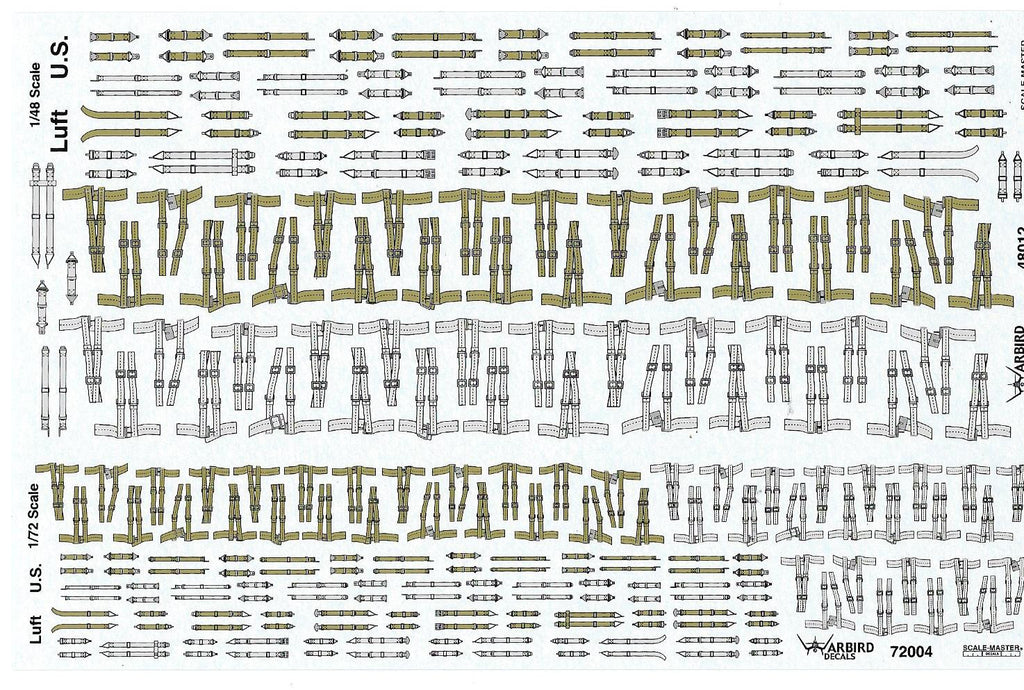 WWII, US and German/Luftwaffe Aircraft Seatbelt Decals 1/48 and 1/72 SP