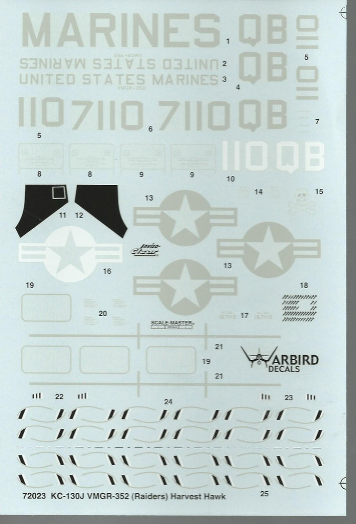 Warbird KC-130J VMGR-352 Raiders Harvest Hawk Decals in 1/72 023