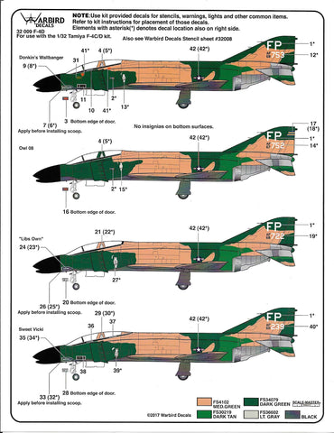 F-4 C/D Phantom, 497th TFS, 'Nite Owls' Decals 1/32 009