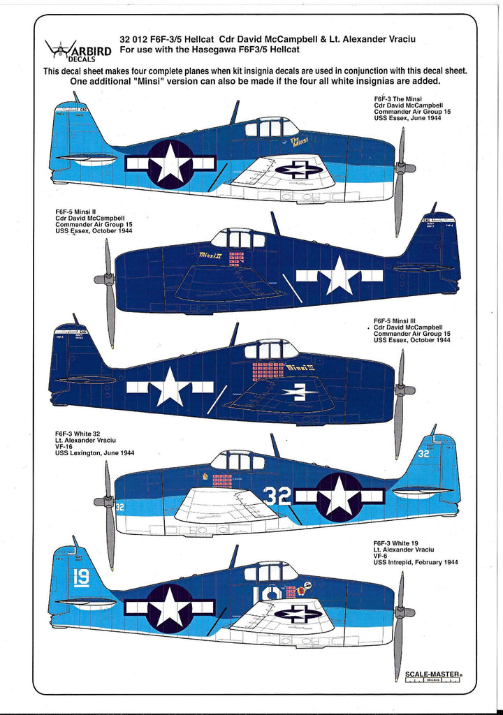 Warbird F6F-3/5 Hellcat Decals 1/32 012, 5 Options, David McCampbell, Lt. Alexander Vraciu