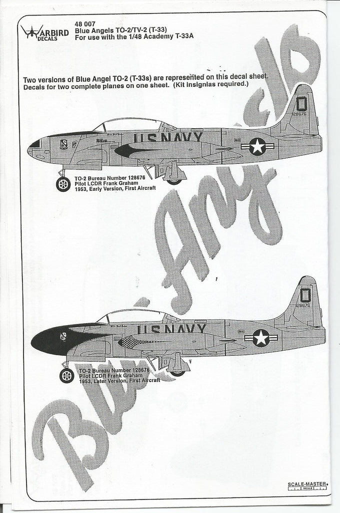 Blue Angels, Natural Metal T-33 Shooting Star Decals 1/48, 2 Options WBD 007