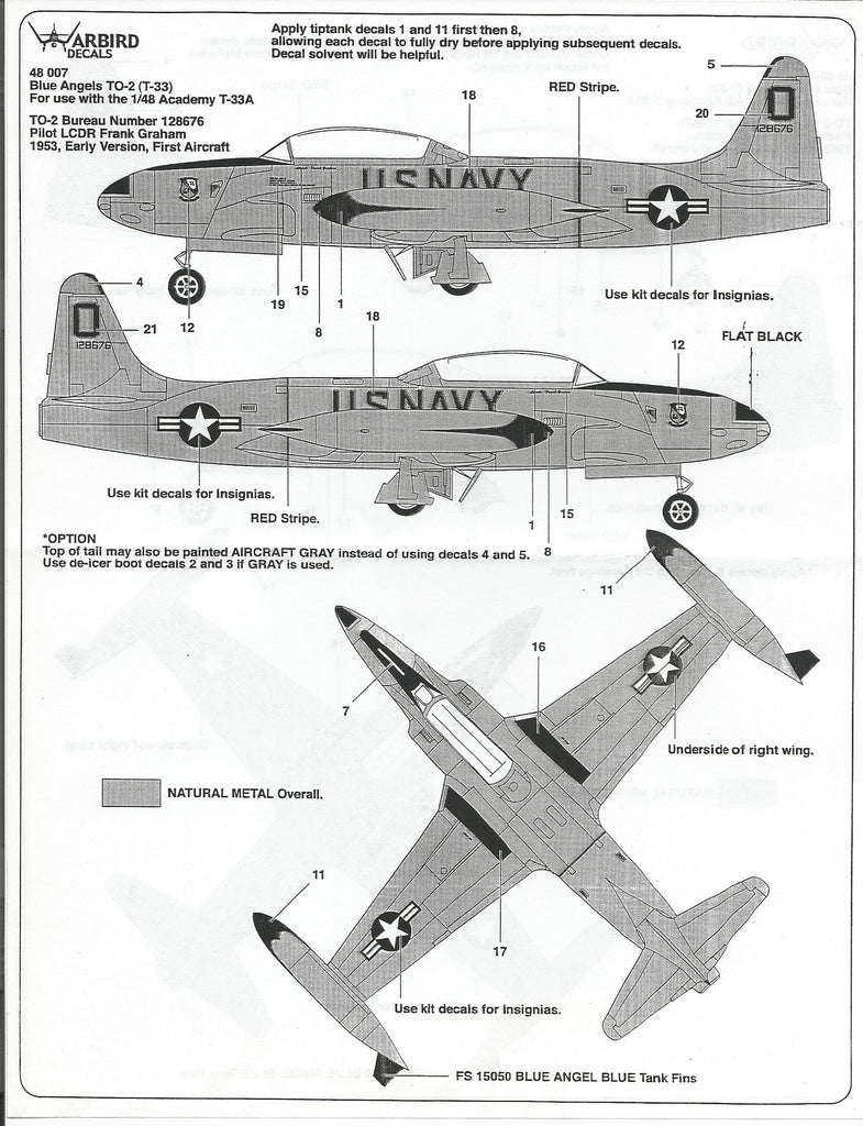 Blue Angels, Natural Metal T-33 Shooting Star Decals 1/48, 2 Options