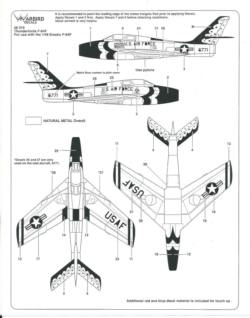 USAF Thunderbirds F-84F Thunderstreak Decals 1/48 WBD 010 for Monogram, Kinetic